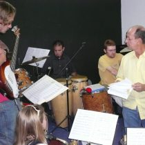 AA practicing with students